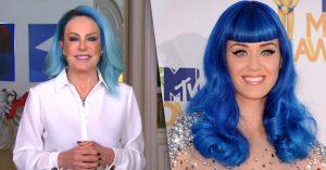 Ana Maria Braga é comparada a cantora Katy Perry ao aparecer de cabelo azul no programa 'Mais Você'