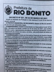 Decreto municipal que endurece medidas restritivas entra em vigor a partir de amanhã