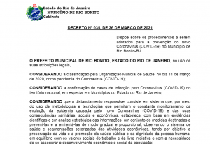 Prefeitura de Rio Bonito prorroga medidas restritivas até dia 07 de abril