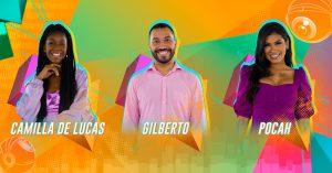 Camilla de Lucas x Gilberto x Pocah formam o 16º paredão do BBB21