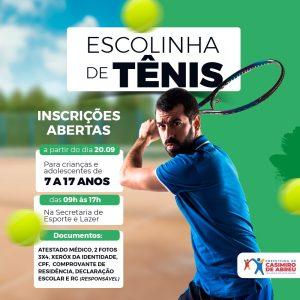 Abertas as inscrições para Escolinha de Tênis em Casimiro de Abreu