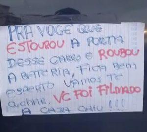 Vítima usa bilhete em carro para ameaçar ladrão em SP: 'A casa caiu'