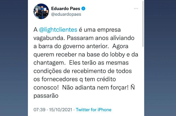 """Prefeito do Rio, Eduardo Paes, chama Light de """"empresa vagabunda"""""""